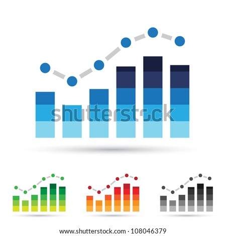 Vector illustration of colorful stats icons - stock vector