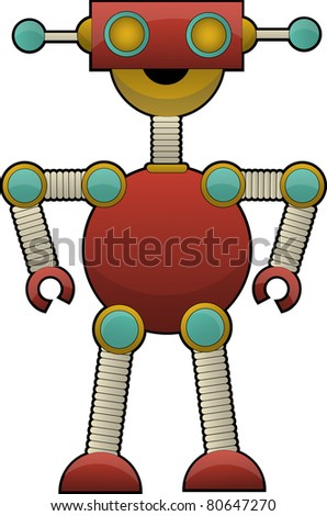 Vector illustration of colorful strange cute robot - stock vector