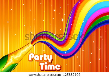 vector illustration of Colorful swirl coming out of Champagne Bottle - stock vector