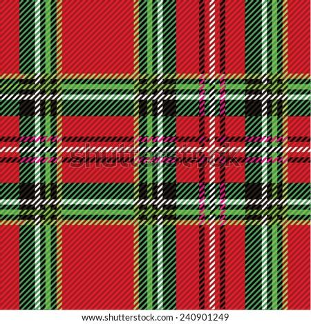 Vector illustration of colorful tartan, plaid fabric. Scotland kilt textile, red, green. - stock vector