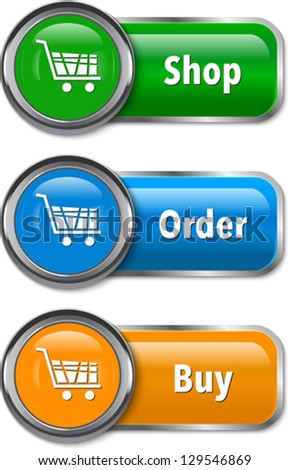Vector illustration of colorful web elements for online shopping - stock vector