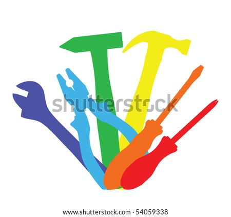 Vector illustration of colorful work tools - stock vector