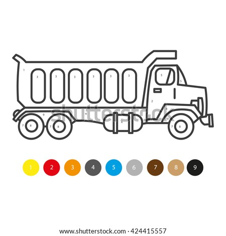 Vector Illustration Of Coloring Book For Kids Truck Transportation Child Magazine Childrens