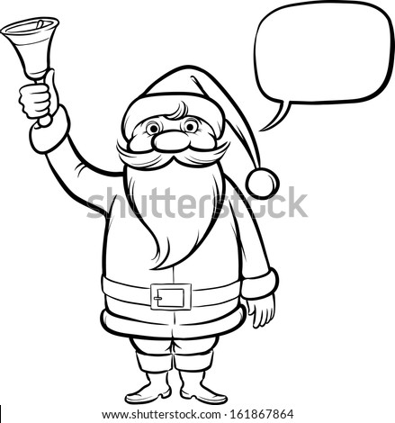 vector illustration of coloring book santa claus with christmas bell easy edit layered vector - Coloring Book Santa