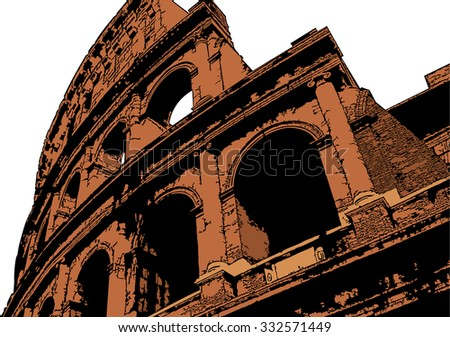 Vector illustration of Colosseum (Coliseum) in Rome, Italy. The Colosseum is an important monument of antiquity - stock vector