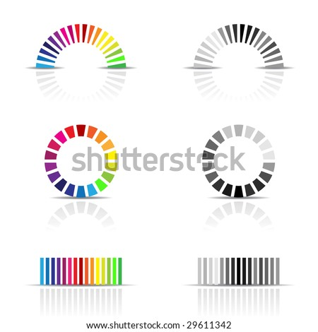 vector illustration of colour profile samples, cmyk, rgb - stock vector