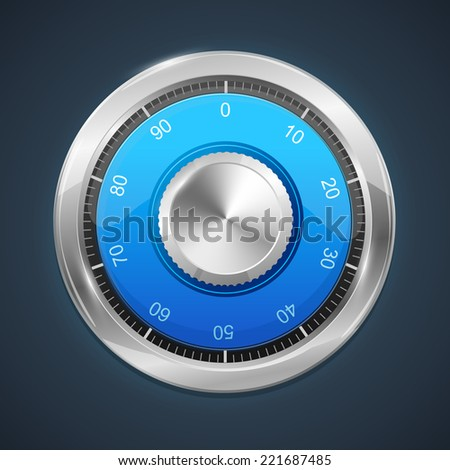 Vector illustration of combination lock on dark background