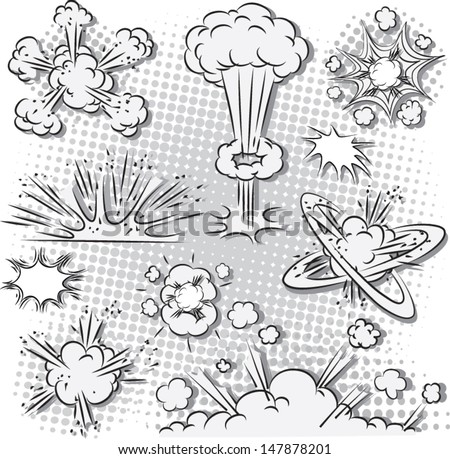 Vector illustration of comic style explosion set in black and white - stock vector