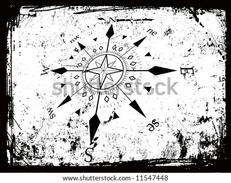 vector illustration of compass grunge background - stock vector