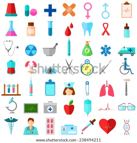 vector illustration of complete set of medical related icons - stock vector