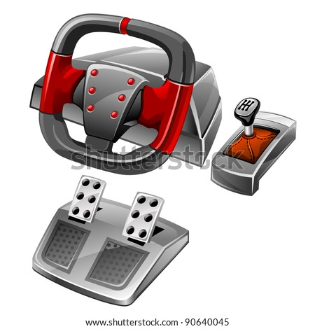 Vector illustration of computer game wheel on white background - stock vector