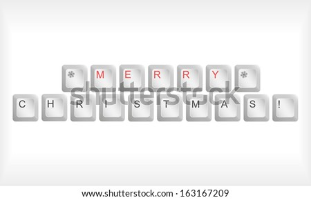 Vector illustration of computer keyboard with Christmas gifts