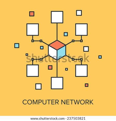 Vector illustration of computer network flat line design concept. - stock vector