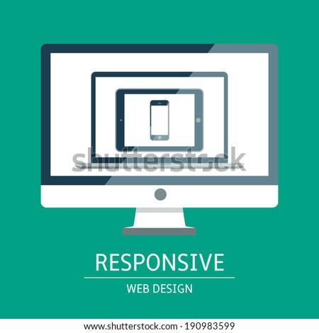 Vector illustration of concept responsive web design - stock vector