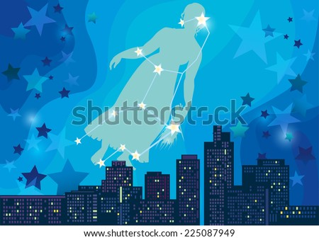 vector illustration of constellation - sign of the zodiac in the night sky over the city - stock vector