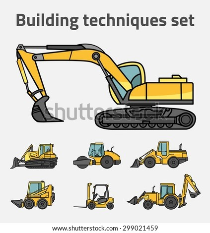 Vector illustration of construction machines set