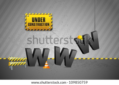 vector illustration of construction of WWW with cone - stock vector