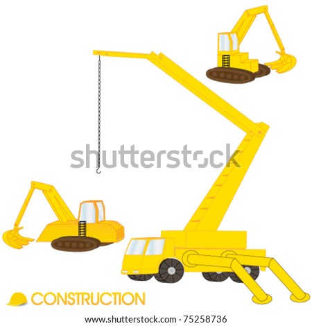 Vector illustration of construction vehicles stock vector