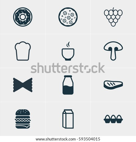 Vector Illustration Of 12 Cooking Icons. Editable Pack Of Roast Beef, Bowl, Sandwich Elements.