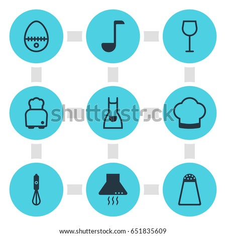 Vector Illustration Of 9 Cooking Icons. Editable Pack Of Soup Spoon , Handmixer, Pepper Container Elements.