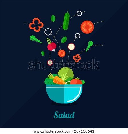 Vector illustration of cooking salad with bowl and vegetables. Flat style. - stock vector
