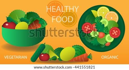 Vector illustration of cooking salad with bowl and vegetables. Vegetarian, Organic food, Healthy food.