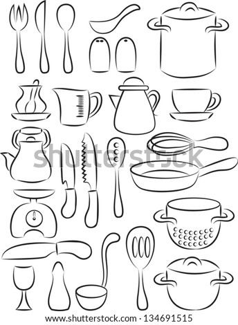 vector illustration of  cooking utensil set in black and white - stock vector