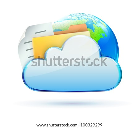 Vector illustration of cool cloud based data sharing concept icon - stock vector