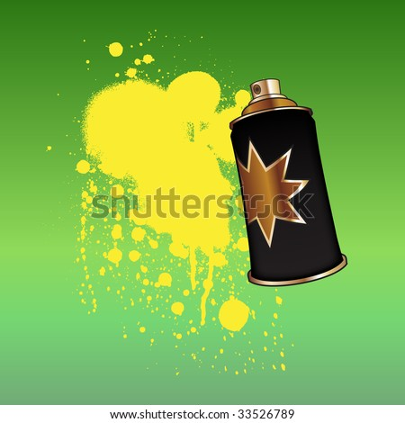 Vector Illustration of cool color spray aerosol, decorated with color drops. - stock vector