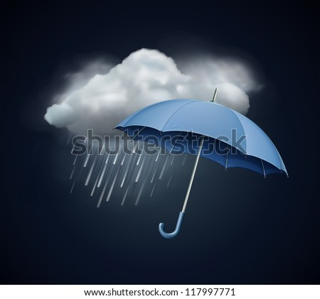 Vector illustration of cool single weather icon - elegant opened umbrella and cloud with heavy fall rain in the dark sky - stock vector