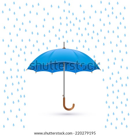 Vector illustration of cool single weather icon - elegant opened umbrella with heavy fall rain in the dark sky - stock vector