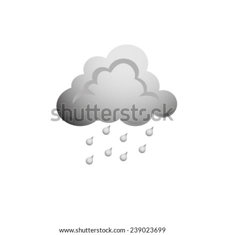 Vector illustration of cool single weather icon - raincloud with raindrops - stock vector