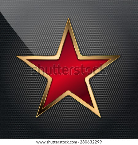 vector illustration of copper red star on grid background - stock vector