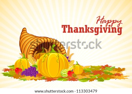 vector illustration of cornucopia filled with vegetable for Thanksgiving - stock vector