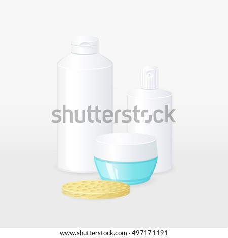 Vector illustration of cosmetics bottles and face cleaning sponge. 3d blank containers for cosmetic products