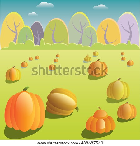 Vector illustration of countryside autumn