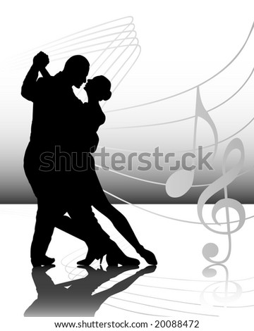 vector illustration of couple dancing - stock vector