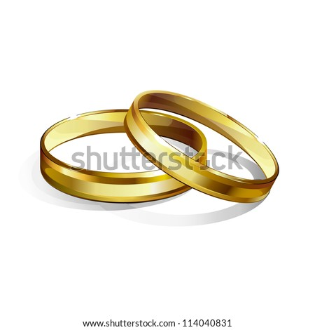 Vector illustration of couple of gold wedding rings.Isolated on white background. - stock vector