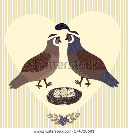 Vector illustration of couple of quails, nest with three eggs, floral element and heart on the striped background. Cute hand drawing cartoon characters. All elements are editable. - stock vector