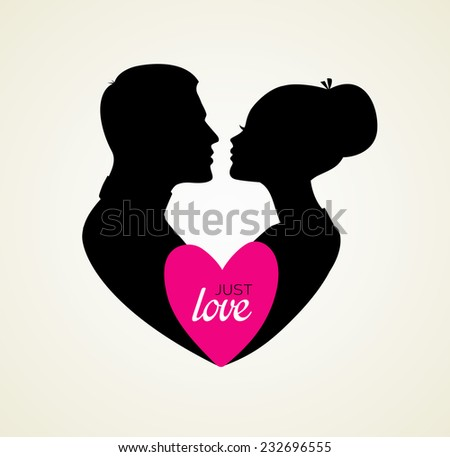 Vector illustration of Couple's silhouette kissing image - stock vector