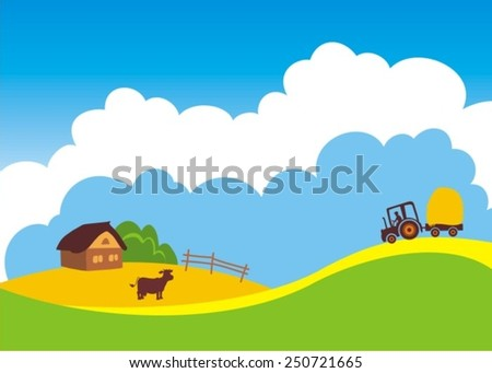 vector illustration of cow grazing in grass land with hut in background  - stock vector