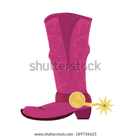 Vector illustration of cowboy boots with spoor isolated on white - stock vector