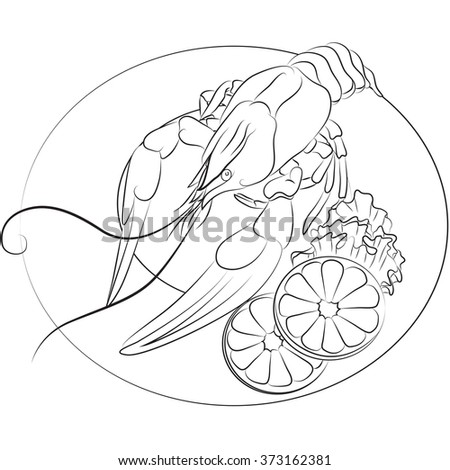 Vector illustration of crayfish on a plate with slices of lemon and salad outline - stock vector