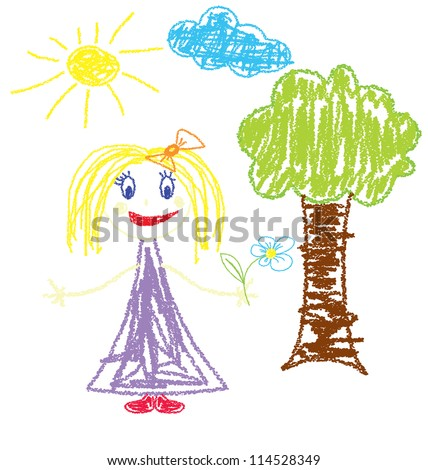 Vector illustration of crayon painted girl with flower - stock vector