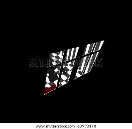 Vector illustration of crazy murderer in house with pool of blood - stock vector