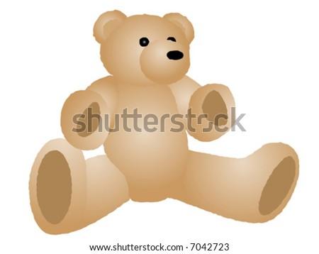 Vector illustration of cream color fuzzy teddy bear. - stock vector