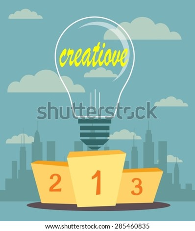 Vector illustration of Creative ideas proudly standing on the winning podium. Flat style - stock vector