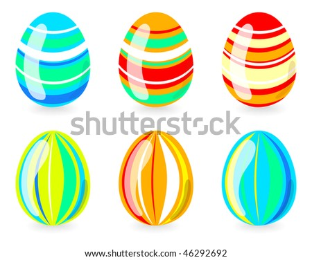 Vector illustration of creative six easter eggs