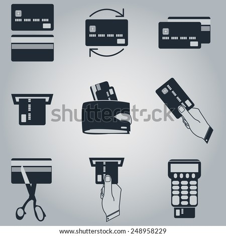 Vector illustration of credit card icon set - stock vector