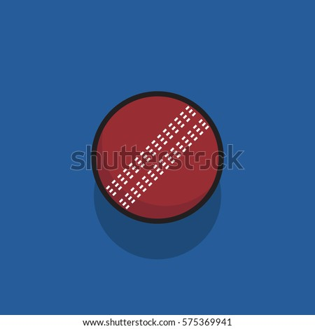 vector illustration of Cricket ball with thick stroke. Ball icon.